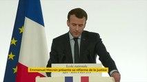 """Emmanuel Macron annonce la fin de """"l'automaticité"""" de l'incarcération pour les peines inférieures à un an. """"Les petites peines sont particulièrement inutiles et contre-productives"""", estime le président de la République"""