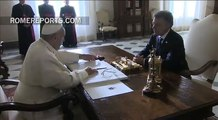 Unprecented three-way meeting with the pope, Colombian president Santos, and former president Uribe