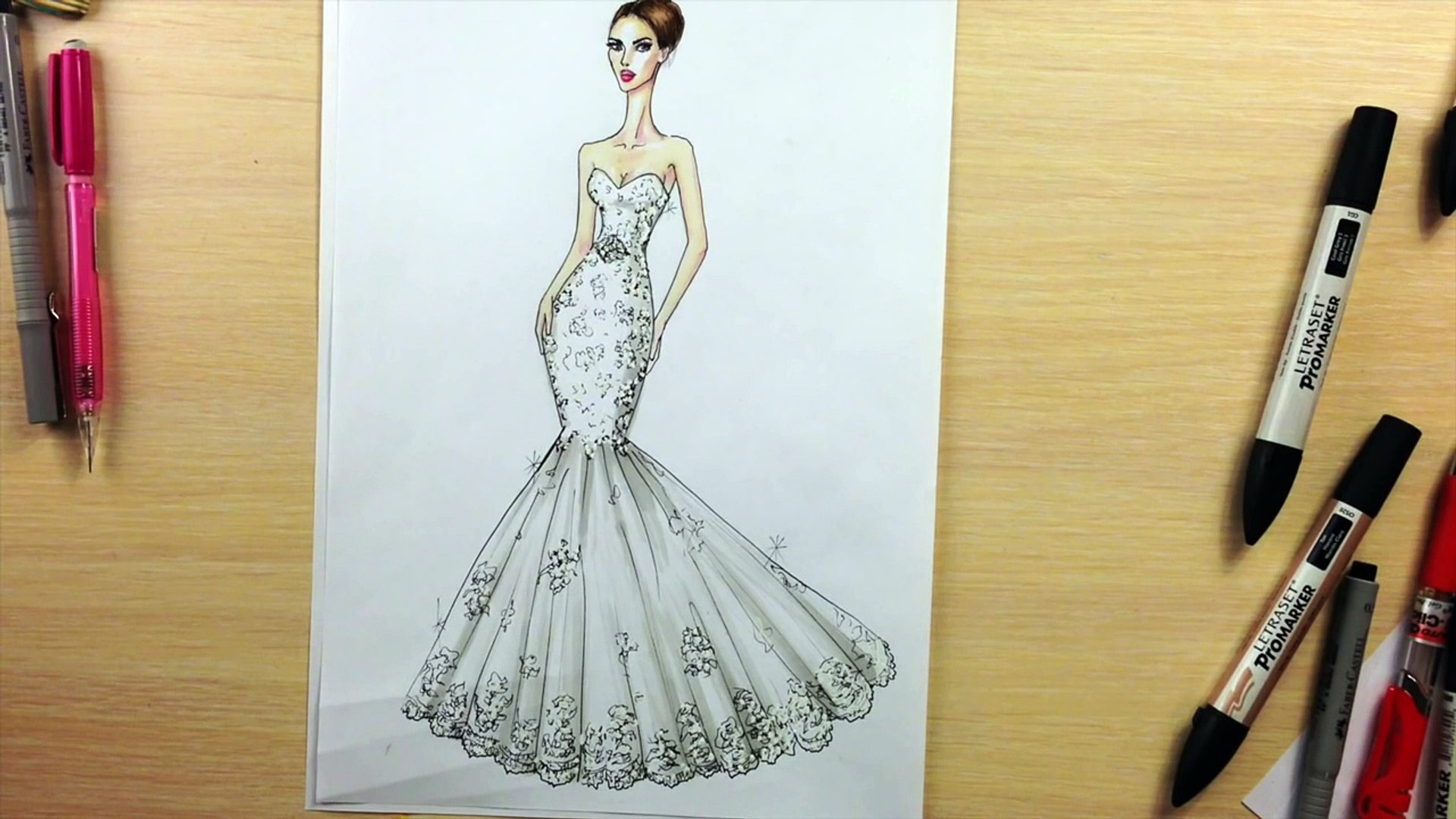 How To Draw A Wedding Dress 1 Fashion Drawing Video Dailymotion
