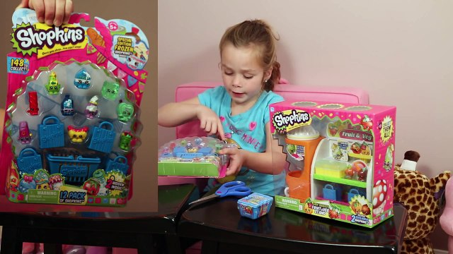 Shopkins Season 1 - Blind Mystery Baskets Opening Toy Review of Bakery, Fruit and Veg Stand Playsets