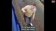 Il fait tomber sa carte bancaire au bord d'une rivière et tente tout pour la récupérer (Vidéo)