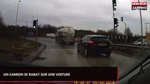 Angleterre : Un camion se rabat brusquement sur une voiture (vidéo)