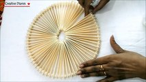 How to make a center table mat from Ice cream sticks/ Popsticks I DIY Table mat I Creative Diaries