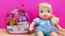 Juguetes para bebés | Accesorios para la comida y el baño de la muñeca | Elsa Bebé come papilla