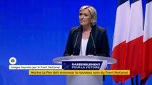 """Changement de nom du Front national : """"Je n'imagine pas d'autres voix que d'organiser un vote de tous les adhérents sur ce sujet et je me plierai à leur décision"""", annonce Marine Le Pen."""