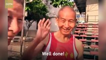 84-year-old athlete enjoys running and jumping