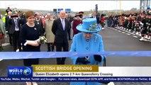 Queen Elizabeth opens Scotland's third Forth bridge