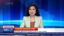 Huge fire engulfs tower block in London