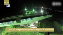 11,000-ton bridge section rotates 90 degrees in 72 minutes