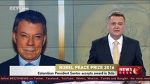 Colombian President Santos accepts Nobel Peace Prize in Oslo, Norway