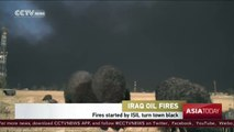 Oil fires started by ISIL outside Mosul turn sheep black