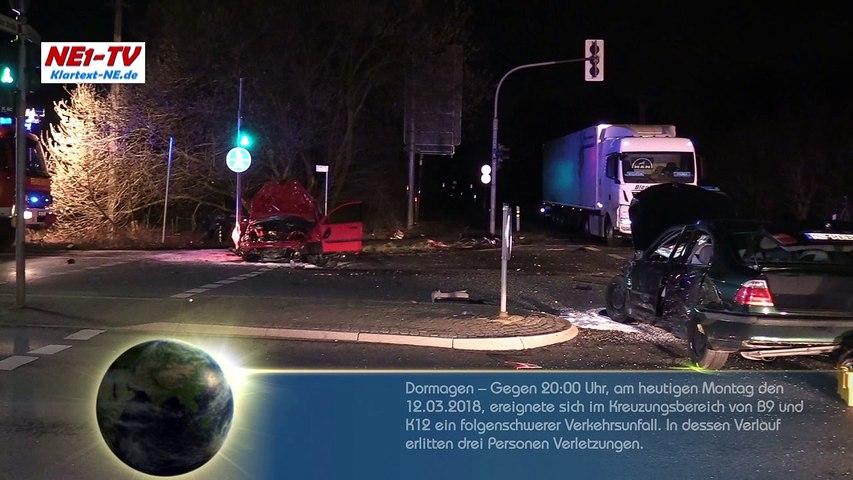 2018-03-12 Dormagen: Schwerer Verkehrsunfall B9 – Person eingeklemmt