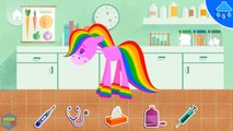 Care of Pony. My Little rainbow Pony . Horse pony wants to play. Treat colored Pony horse. Kids Game