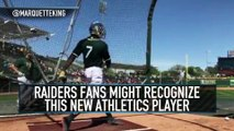 Raiders Punter Marquette King Takes Batting Practice With Athletics