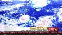 Hundreds evacuated as Typhoon Sarika makes landfall in S China's Hainan Province