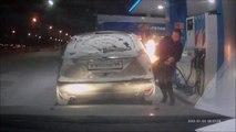 At the gas Station - a Lighter Is not a Torch! La station d'essence - un Briquet - ce n'Est pas une lampe de Poche!
