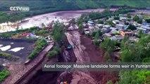 Aerial footage: Massive landslide forms weir in Yunnan