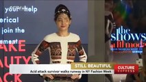 Acid attack survivor graces catwalk in NY Fashion Week