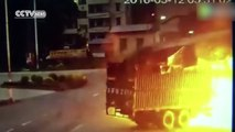 Two trucks collide and burst into flames