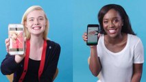 Elle Fanning & Aja Naomi King Show Us the Last Thing on Their Phones