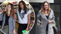 'Just a couple of bad girls': Jessica Alba pairs gray cardigan with olive bottoms for lunch...before posing inside a store with Bad Boys co-star Gabrielle Union.