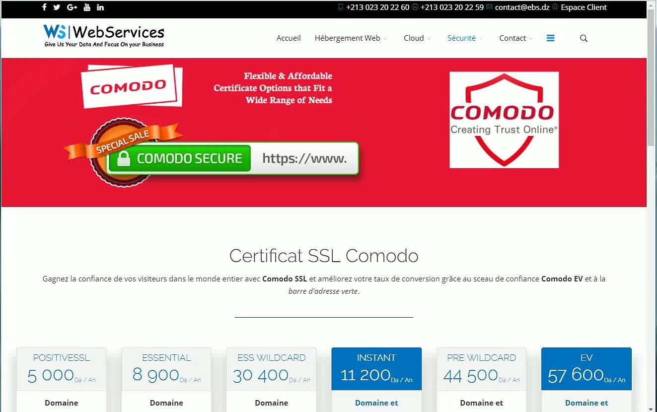 Certificat SSL Comodo en Algérie
