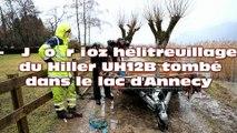 Crash d'autogyre dans le lac d'Annecy : l'appareil sorti de l'eau par un hélicoptère