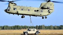 Army Soldiers Sling Load Op With CH-47 Chinook