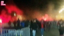Les débordements des Ultras Lyonnais avant le match face au CSKA
