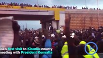 Kisumu residents come out in their numbers to receive Raila Odinga.