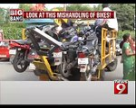 Towing Vehicle Crams 8 Bikes in Bengaluru - NEWS9