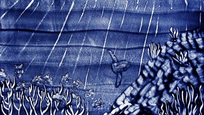Film d'animation de sable Bleu Nuit, conte écologique