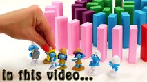 Smurfs The Lost Village Domino Tower Game! Learn Colors with Smurfette, Brainy, Clumsy and Gargamel!