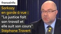 """Sarkozy en garde à vue : """"La justice fait son travail et elle suit son cours. (...) Je ne sais pas si l'on doit parler 'd'acharnement'"""", juge Stéphane Travert"""