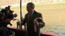 'Tragic': Farage dumps fish into river in Brexit protest