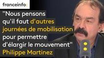"""""""Nous pensons qu'il faut d'autres journées de mobilisation pour permettre d'élargir le mouvement, je pense à mes camarades de Ford à Bordeaux, aux salariés d'Air France"""" explique Philippe Martinez (CGT)"""