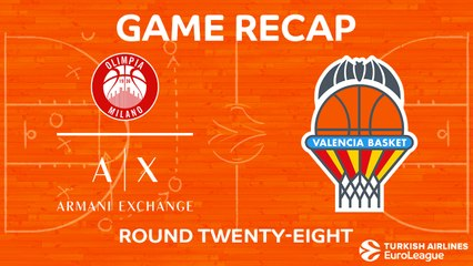 EuroLeague 2017-18 Highlights Regular Season Round 28 video: AX Milan 89-93 Valencia