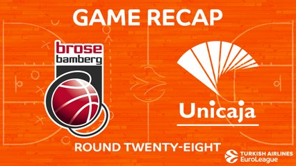 EuroLeague 2017-18 Highlights Regular Season Round 28 video: Bamberg 93-88 Unicaja