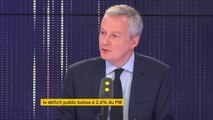 """Déficit public ramené à 2,6 % du PIB : """"C'est une bonne nouvelle. C'est la preuve que la stratégie définie par le président de la République est la bonne. Nous avons tenu nos engagements"""", se félicite le ministre de l'Economie Bruno Le Maire"""