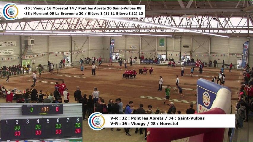 Demi-finales,  quatrième phase, tirs progressif, rapide en simple et rapide en double -15, France Clubs Jeunes, Limoges 2018