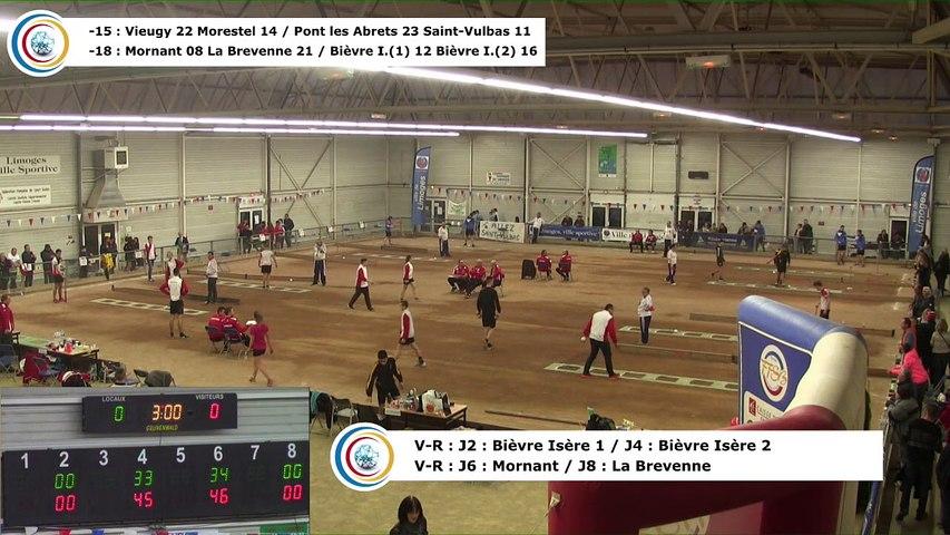 Demi-finales,  cinquième phase, tirs progressif, rapide en simple et rapide en double -18, France Clubs Jeunes, Limoges 2018