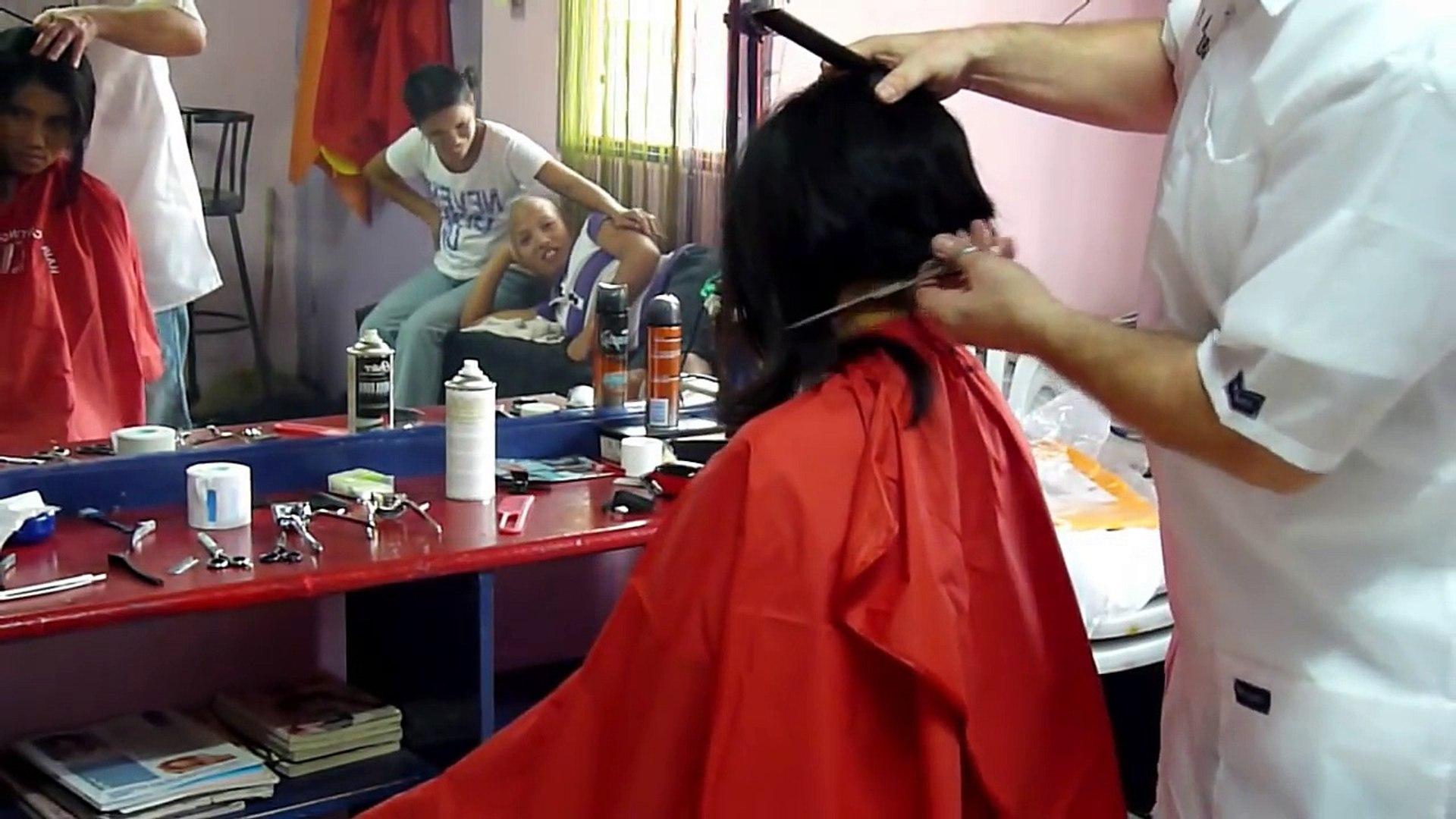 Girl long to short hair cut - video dailymotion