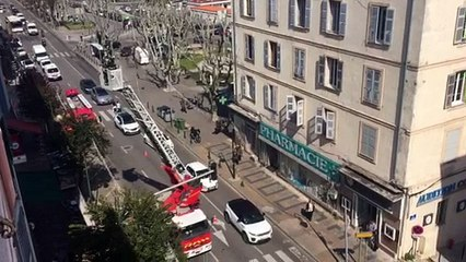 Intervention des pompiers sur le cours Napoléon à Ajaccio