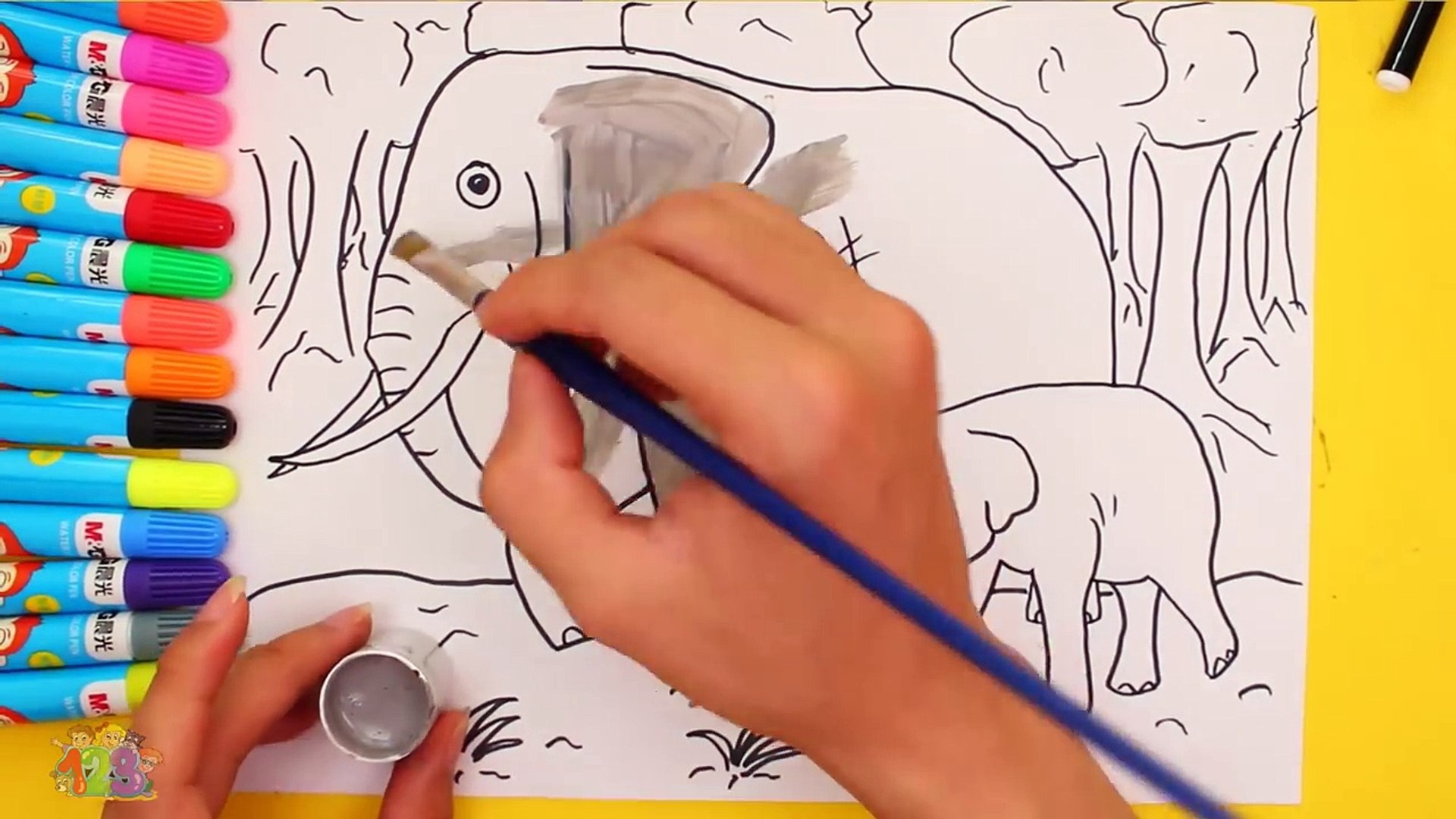 Learning How to Draw Elephants Coloring for Kids with Colored Markers Learn Colors and Draw For Kids