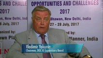 Vladimir Yakunin speaking in New Delhi about opportunities and challenges for the future