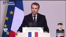 """Hommage à Arnaud Beltrame: """"Ce que nous combattons, c'est aussi cet islamisme souterrain qui progresse par les réseaux sociaux"""", dit Emmanuel Macron"""