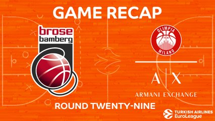EuroLeague 2017-18 Highlights Regular Season Round 29 video: Bamberg 78-83 AX Milan