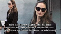 Multi-tasking mom! Angelina Jolie has script in purse as she takes Vivienne to martial arts class… after claims she's dating 'handsome' real estate agent.