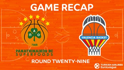 EuroLeague 2017-18 Highlights Regular Season Round 29 video: Panathinaikos 75-56 Valencia