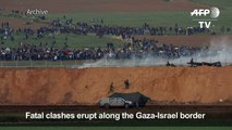 Clashes as thousands of Gazans march near Israel border
